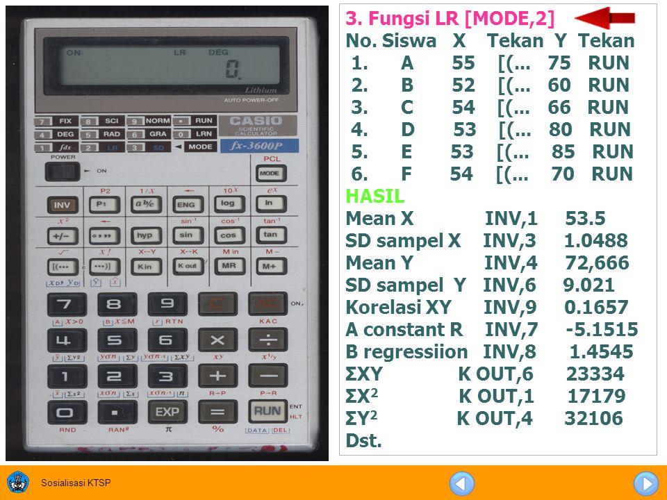 3. Fungsi LR [MODE,2] No. Siswa X Tekan Y Tekan. 1. A 55 [(... 75 RUN. 2. B 52 [(... 60 RUN.